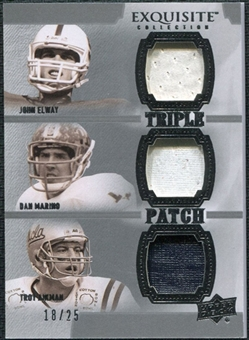 2010 Upper Deck Exquisite Collection Patch Trios #EMA Troy Aikman John Elway Dan Marino /25