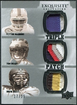 2010 Upper Deck Exquisite Collection Patch Trios #MBB Tom Brady Peyton Manning Drew Brees /25