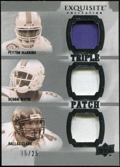 2010 Upper Deck Exquisite Collection Patch Trios #MWC Dallas Clark Peyton Manning Reggie Wayne /25