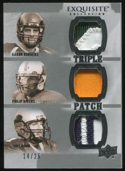 2010 Upper Deck Exquisite Collection Patch Trios #RRR Philip Rivers Tony Romo Aaron Rodgers 14/25