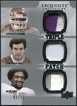 2010 Upper Deck Exquisite Collection Patch Trios #SPB Sam Bradford Adrian Peterson Billy Sims 3/25