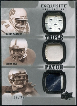 2010 Upper Deck Exquisite Collection Patch Trios #SRF Doug Flutie Barry Sanders Jerry Rice /25