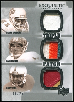 2010 Upper Deck Exquisite Collection Patch Trios #SRM Jerry Rice Dan Marino Barry Sanders 19/25