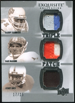 2010 Upper Deck Exquisite Collection Patch Trios #SRM Jerry Rice Dan Marino Barry Sanders 17/25