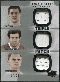 2010 Upper Deck Exquisite Collection Patch Trios #TBC Sam Bradford Tim Tebow Jimmy Clausen /25