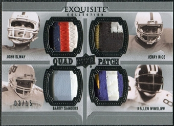 2010 Upper Deck Exquisite Collection Patch Quads #ESRW Kellen Winslow Barry Sanders John Elway Jerry Rice /15