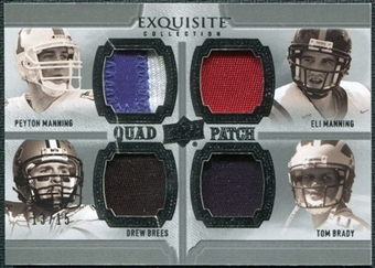 2010 Upper Deck Exquisite Collection Patch Quads #MBBM Drew Brees Peyton Manning Eli Manning Tom Brady 13/15