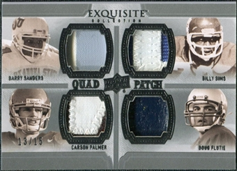 2010 Upper Deck Exquisite Collection Patch Quads #SSFP Carson Palmer Doug Flutie Barry Sanders Billy Sims /15