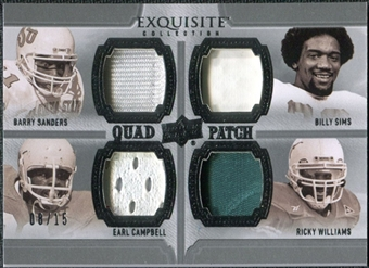 2010 Upper Deck Exquisite Collection Patch Quads #SWCS Billy Sims Barry Sanders Ricky Williams Earl Campbell /