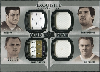 2010 Upper Deck Exquisite Collection Patch Quads #TMBC Jimmy Clausen Tim Tebow Sam Bradford Colt McCoy 2/15