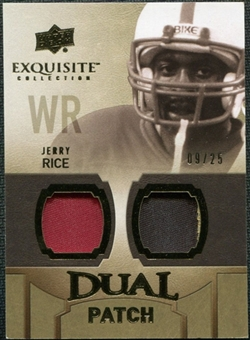2010 Upper Deck Exquisite Collection Single Player Dual Patch #EDPJR Jerry Rice /25