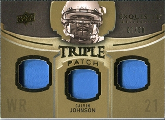 2010 Upper Deck Exquisite Collection Single Player Triple Patch #ETPCJ Calvin Johnson /50