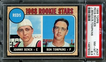 1968 Topps Baseball #247 Johnny Bench Rookie PSA 8.5 (NM-MT+) *9333