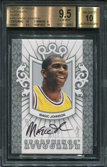 2007 Sportkings Autograph Silver #AMJ Magic Johnson BGS 9.5 SP /99