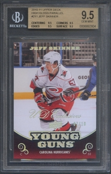 2010/11 Upper Deck #211 Jeff Skinner Exclusives High Gloss Holofoil Young Gun Rookie #07/10 BGS 9.5