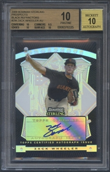 2009 Bowman Sterling #ZW Zack Wheeler Prospects Black Refractor Rookie Auto #24/25 BGS 10