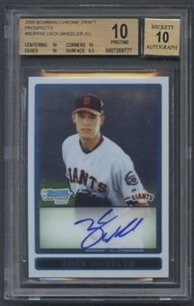 2009 Bowman Chrome Draft Prospects #BDPP86 Zack Wheeler Rookie Auto BGS 10