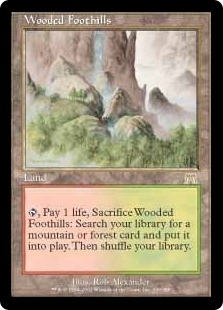 Magic the Gathering Onslaught Single Wooded Foothills - MODERATE PLAY (MP)