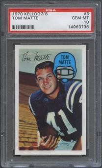 1970 Kellogg's Football #3 Tom Matte PSA 10 (GEM MT) *3736