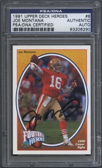 1991 Upper Deck #8 Joe Montana Signed Auto PSA/DNA *6290