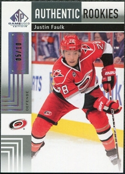 2011/12 Upper Deck SP Game Used Silver Spectrum #159 Justin Faulk RC 5/10