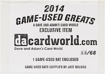 2014 Just Minors Game Used Greats Baseball Hobby Box (Full Size Game Used Bat!)
