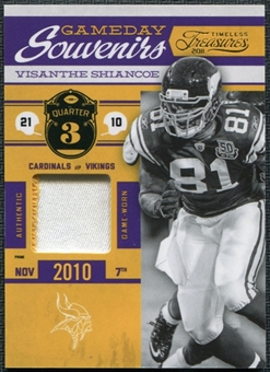 2011 Panini Timeless Treasures Game Day Souvenirs 3rd Quarter Prime #32 Visanthe Shiancoe 8/10