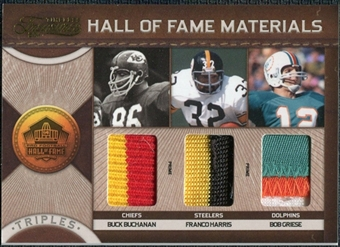 2011 Panini Timeless Treasures HOF Triple Materials Prime #3 Bob Griese Buck Buchanan Franco Harris 4/10