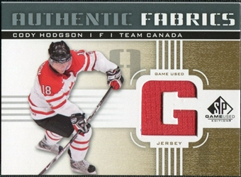 2011/12 Upper Deck SP Game Used Authentic Fabrics Gold #AFCH2 Cody Hodgson G D
