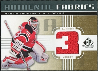 2011/12 Upper Deck SP Game Used Authentic Fabrics Gold #AFMB2 Martin Brodeur 3 C