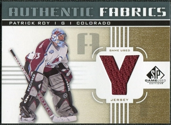 2011/12 Upper Deck SP Game Used Authentic Fabrics Gold #AFPR4 Patrick Roy Y C
