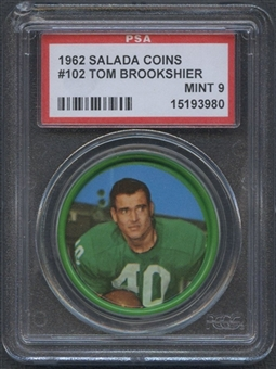 1962 Salada Football Coin #102 Tom Brookshier PSA 9 (MINT) *3980