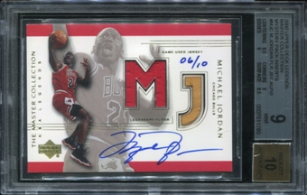 2000 Upper Deck Legends Master Collection Mystery Pack Inserts #MJC Michael Jordan Auto Floor-Jsy 6/10