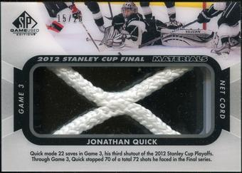 2012/13 Upper Deck SP Game Used Stanley Cup Finals Materials Net Cord #G3JQ Jonathan Quick 15/25