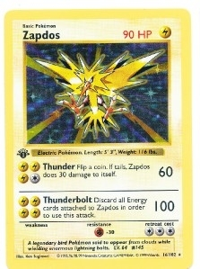 Pokemon Base Set 1 Single 1st Edition Zapdos 16/102