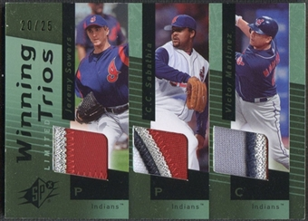 2007 SPx #WT38 Jeremy Sowers C.C. Sabathia Victor Martinez Winning Trios Patch #20/25