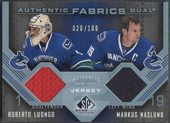2006/07 SP Game Used #AF2NL Markus Naslund & Roberto Luongo Authentic Fabrics Dual Jersey #020/100