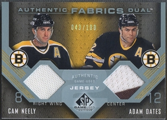 2007/08 SP Game Used #AF2NO Cam Neely & Adam Oates Authentic Fabrics Duals Jersey #043/100
