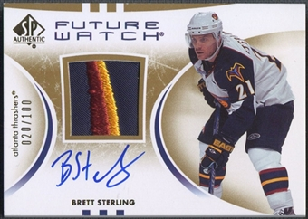 2007/08 SP Authentic #196 Brett Sterling Rookie Patch Auto #020/100