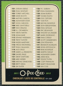 2011/12 Upper Deck O-Pee-Chee Retro #497 Checklist