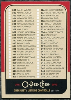 2011/12 Upper Deck O-Pee-Chee Retro #499 Checklist