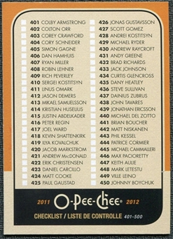 2011/12 Upper Deck O-Pee-Chee Retro #500 Checklist