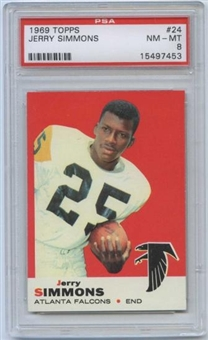1969 Topps Football #24 Jerry Simmons PSA 8 (NM-MT) *7453