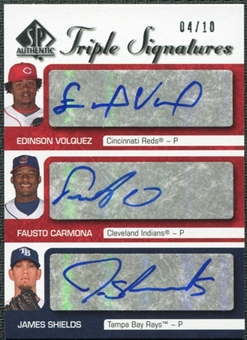 2009 Upper Deck SP Authentic Signature Triple #CVS Fausto Carmona Edinson Volquez James Shields Autograph 4/10