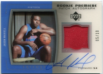 2005/06 Upper Deck Trilogy Rookie Premiere Patches Autographs #JM Jason Maxiell Autograph 5/10