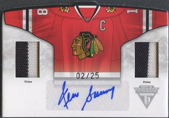 2011/12 Panini Titanium #6 Denis Savard Home Sweaters Memorabilia Patch Auto #02/25