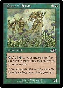 Magic the Gathering Urza's Saga Single Priest of Titania - MODERATE PLAY (MP)