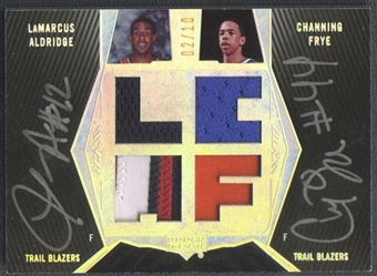 2007/08 UD Black #AFA LaMarcus Aldridge & Channing Frye Patch Auto #02/10