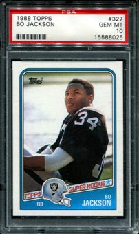 1988 Topps Football #327 Bo Jackson Rookie PSA 10 (GEM MT) *8025