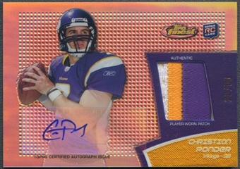 2011 Finest #RAPCP Christian Ponder Rookie Patch Auto Red Refractor #23/50
